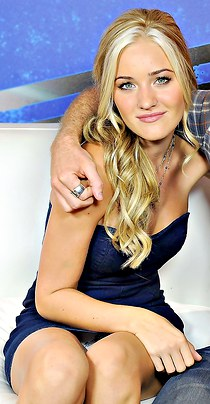 Blonde Amanda Michalka up the skirt