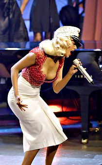 Christina Aguilera down blouse show
