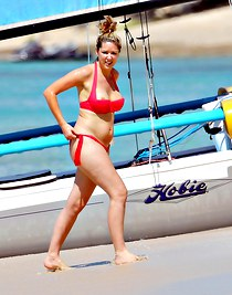 Claire Sweeney belly in tiny bikini