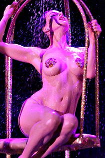 Wet body of nude Dita Von Teese