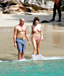 Spying topless bikini Kelly Brook