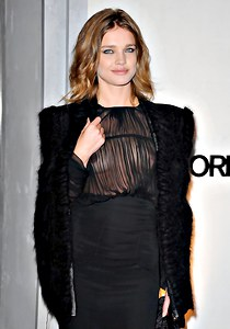 Natalia Vodianova up sheer blouse