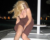 Windy voyeur downblouse outdoors