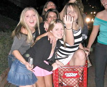 Partying girls flashed upskirt
