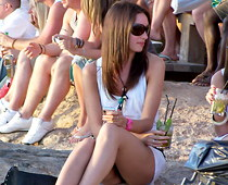 Girl in glasses summer upskirt