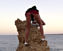 Girl on the rock hot upskirt
