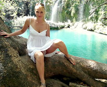 Panty upskirt near waterfall