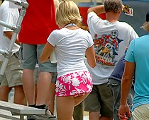 Blonde upskirts from behind