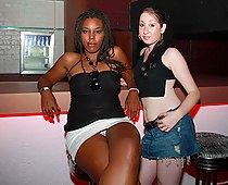 Ebony upskirts in the bar