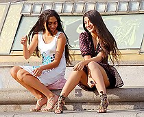 Ethnic girls outdoor upskirts