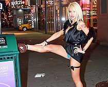 Vicious blonde upskirts outdoors
