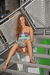 Girl on stairs white panty view