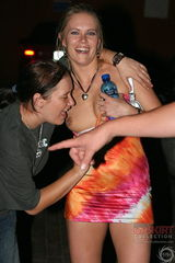 0980 Downblouse and upskirt of drunk chick with pierced tits